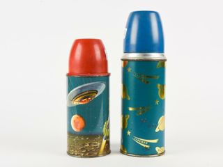 lOT OF 2 lIBERTY   SPACE METAl THERMOS
