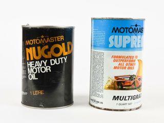 lOT OF 2 MOTOMASTER MOTOR OIl QUART   lITRE CANS