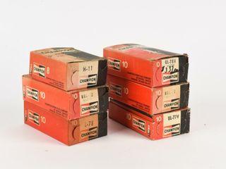 lOT OF 6 CHAMPION SPARK PlUG BOXES  CONTENT