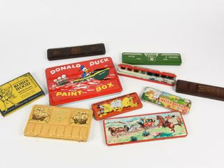 GROUPING OF 10 VINTAGE WATER COlOR TIN BOXES