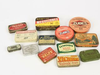 GROUPING OF 13 VINTAGE THROAT lOZENGES TINS
