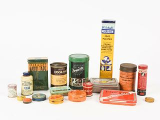 lOT OF VINTAGE HEAlTH RElATED CANS
