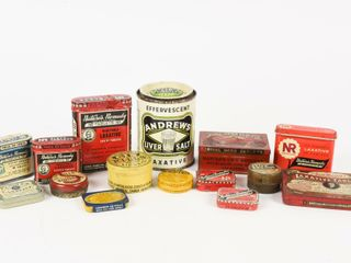 GROUPING OF 15 VINTAGE lAXATIVE   KIDNEY CANS