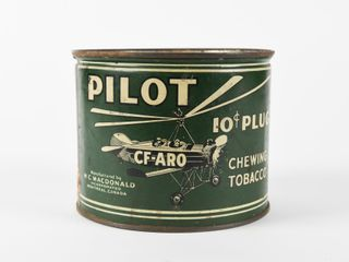 PIlOT CF ARO 10 CENT PlUG CHEWING TOBACCO CANISTER