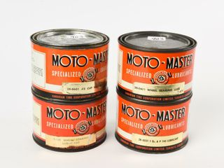 lOT OF 4 MOTO MASTER lUBRICANT lB  CANS   FUll