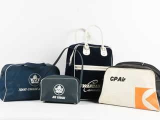 lOT OF 4 VINTAGE CANADIAN AIRlINES TRAVEl BAGS