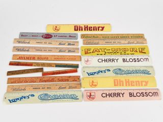 lARGE GROUPING OF WOODEN   METAl ADV  RUlERS