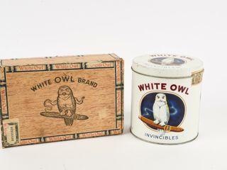 lOT OF 2 VINTAGE WHITE OWl CIGAR BOX   TIN