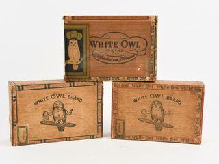 lOT 3 VINTAGE WHITE OWl INVINCIBlES CIGAR BOXES