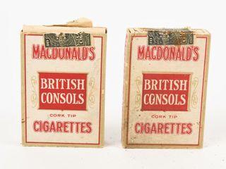 1915 MACDONAlD S BRITISH CONSOl CIGARETTE PACKS