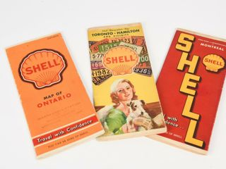lOT OF 3 SHEll ONTARIO CITIES GUIDES   MAP