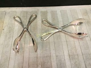 16 Silver Salad Tongs w  Milk Crate