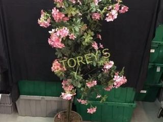 Faux Fiscus Tree w  Pink Flowers   5