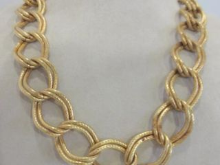 GIlDED DOUBlE lINK HAMMERED METAl CHAIN