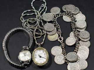 MAPPINS WATCH  METAl BRACElET W COINS   WATCH ON