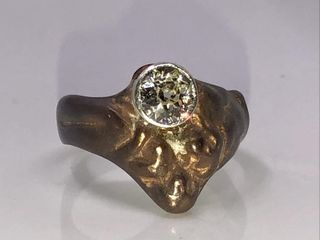 COPPER   SIlVER DIAMOND RING