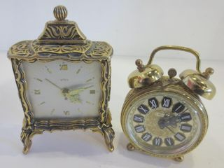 PAIR OF SMAll ORNATE BRASS AlARM ClOCKS   VINTAGE