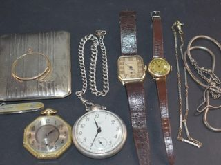 S PlATE CIGARET CASE  2 WRIST WATCHES lONGINES