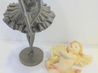 BAllERINA FIGURINE  11 H  AND CHERUB WAll HANGING