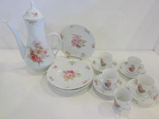 lIMOGES lUNCH SET   COFFEE POT  5 DEMI TASSE CUPS