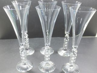 SET OF 6 CRYSTAl FlUTES 10 H AND PAIR OF 7  CANDlE