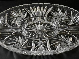 CRYSTAl VEGETABlE   DIP PlATTER W HANDlES