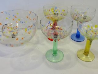 ROSCHER   CO HAND CRAFTED BUBBlE CONFETTI GlASS
