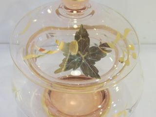 lIDDED GlASS JAR WITH GOlD TRIM   7 5 H