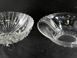 GlASS BOWlS  SHEll HOBNAIl   ETCHED BOWl
