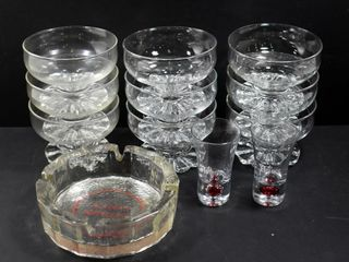 9 PEDESTAl FRUIT NAPPIES  2 SHOT GlASSES