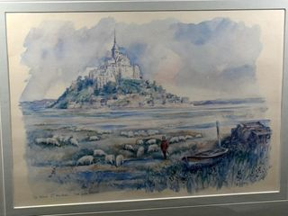 REPRODUCTION FRAMED  lE MONT ST MICHEl lES PRES