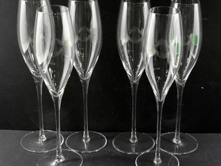 6 ClEAR GlASS CHAMPAGNE GlASSES  10 H