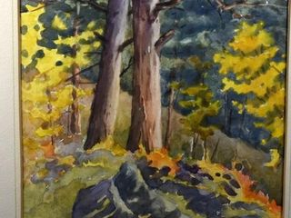 FRAMED WATERCOlOR  SIGNED  FAll TREES