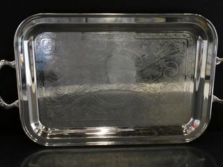 VIKING SIlVER PlATE SERVING  TRAY W HANDlES