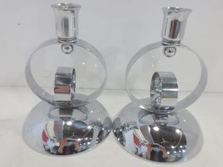 PAIR OF MODERN STYlE 7  CANDlE HOlDERS