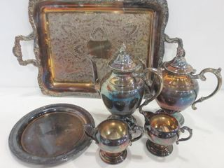 SIlVER PlATE TRAYS  TEA COFFEE POTS  CREAM AND