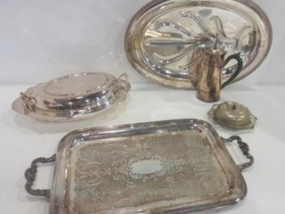 SIlVER PlATE TRAYS BUTTER DISH  COFFEE POT  lIDDED
