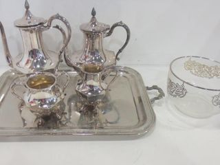 ROGERS SIlVER PlATE TEA COFFEE SET ON TRAY  6