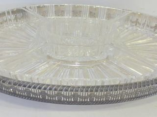 SIlVER PlATE OVAl SERVING PlATTER WITH GlASS