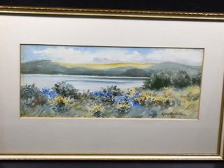 WATERCOlR FRAMED   SIGNED A JUlIET BURDOIN 1911