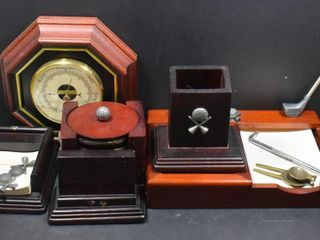GOlF THEMED DESK ITEMS  BAROMETER  COASTERS