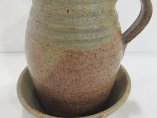 POTTERY WATER PITCHER WITH UNDERPlATE