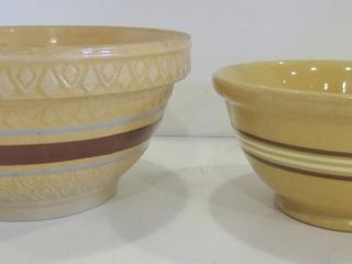 PAIR OF YEllOW WARE BOWlS   8  9    ANTIQUE