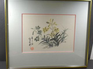 WATERCOlOR FRAMED  BY TAN lUONG  YEllOW lIlIES