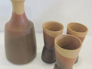 SIAl STONEWARE CARAFE AND 3 GlASSES   VINTAGE