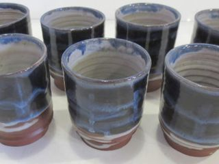 SET OF 5 POTTERY GlASSES  3 H    SIGNED