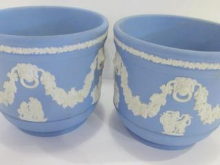 PAIR OF WEDGWOOD BlUE JASPERWARE JARDINIERES