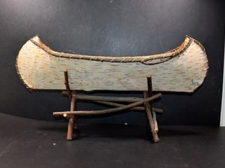 HANDMADE BIRCH BARK CANOE ON STAND