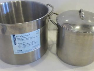 PAIR OF STAINlESS STEEl STOCK POTS