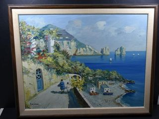 OIl ON CANVAS  MEDITERRANEAN  SIGNED SIlVANI